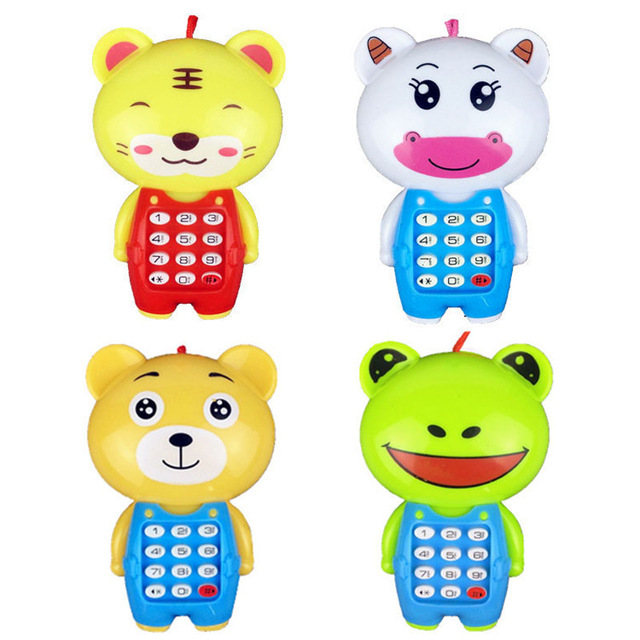 Electronic Toy Phone For Children Animals Sounding Digital Vocal Glowing Musical Mobile Phone Baby Educational Learning Toys
