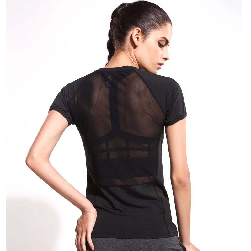 Noir De Yoga chemise de Course tighs Femmes Sport À Manches Courtes ...