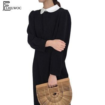 3b0b0806c Vestidos de moda de las mujeres de Japón diseño de estilo coreano  temperamento dama Slim cintura negro cuello Peter Pan blanco vestido  Vintage vestido de ...