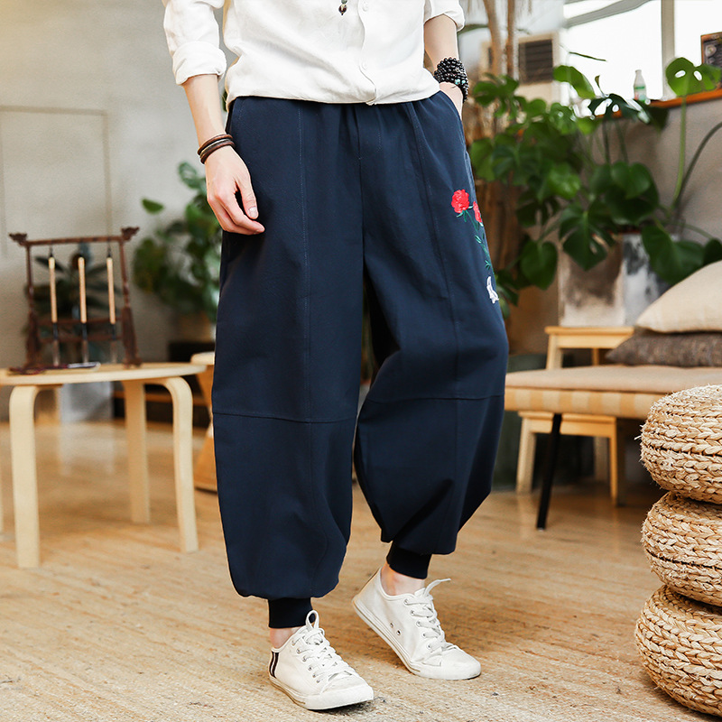 Leinen Männer Hosen Chinesischen Wind Lose Leinen Breite Bein Hosen Mode Herren Gabelung Hosen Harem Hosen Hanf Baumwolle Casual Elastische