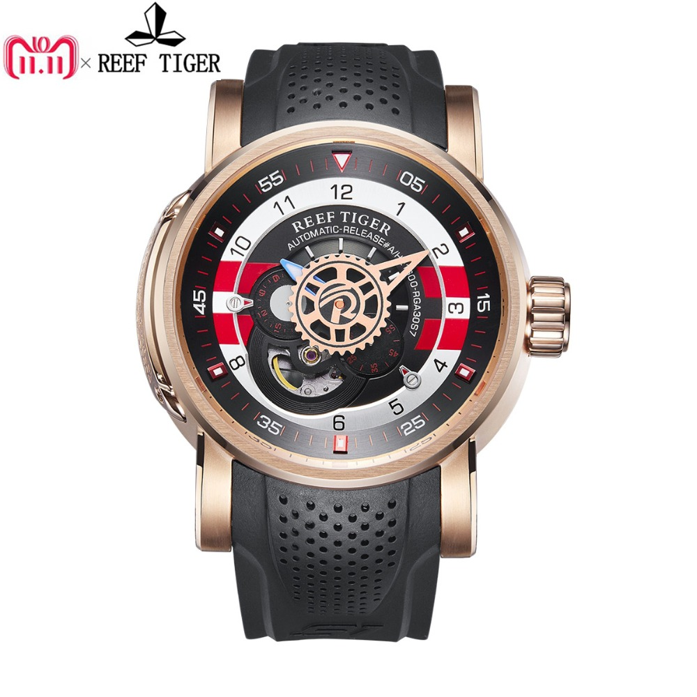 2018 Reef Tiger/RT Designer Sport Watch for Men Luxury Brand Rose Gold Watches Reloj Hombre Waterproof Automatic Watch RGA30S7 reef tiger rt designer sport watches for men rose gold quartz watch with chronograph and date reloj hombre 2018 rga3063