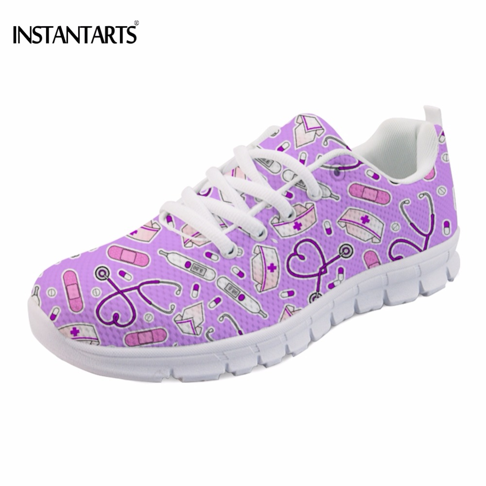 INSTANTARTS Fashion Cute Nurse Love Purple Printing Women Spring Sneakers Casual Women's Mesh Flats Comfortable Breathable Flat instantarts fashion women flats cute cartoon dental equipment pattern pink sneakers woman breathable comfortable mesh flat shoes