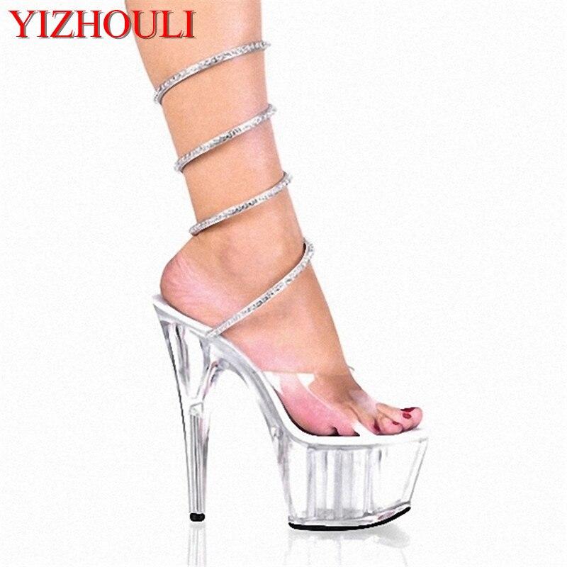 Sandales en cristal sexy de boîte de nuit de 15cm de haut talons superbes, chaussures de danse des femmes de modèle de représentation d'étape
