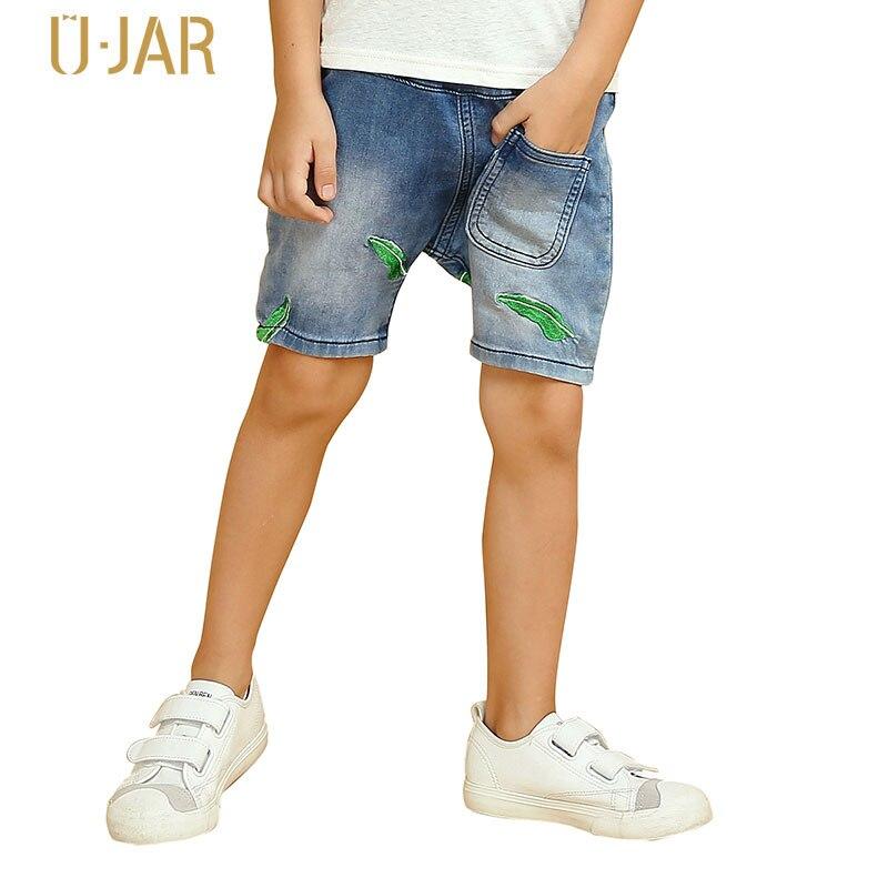 UJAR Brand Lotus Leaf Embroidery Loose Pattern Boys Demin Shorts Summer School Kids Casual Jeans U52C206 casual loose sleeveless embroidery leaf pattern cami