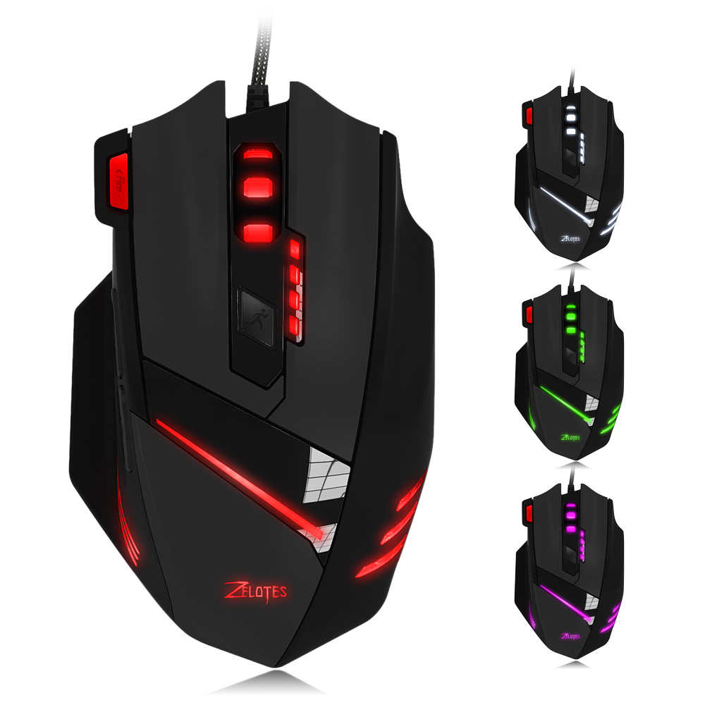 Zelotes T-60 USB Wired Gaming Mouse 7 Tombol 7200 Dpi Optical Adjustable USB Komputer Lampu Latar LED Mouse Gaming Mouse untuk gamer