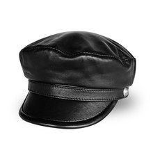 Pudi man genuine leather military hat cap 2018 new style boy real leather student school caps hats HL805 цена