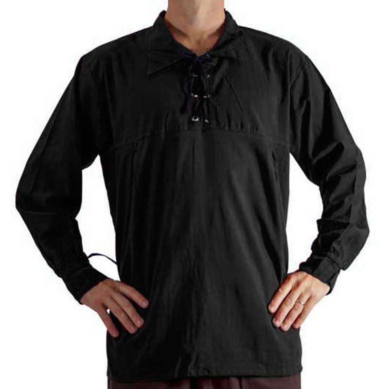 Litthing для мужчин Средневековый Ренессанс косплей костюм Топы Весна Туника шнуровка стенд шнуровка на груди черная белая рубашка 2019 Новинка