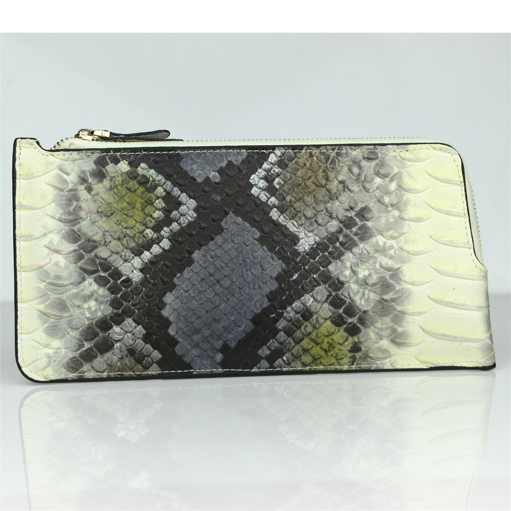 Snake pattern long zipper wallet hand bag hand fashion trend package