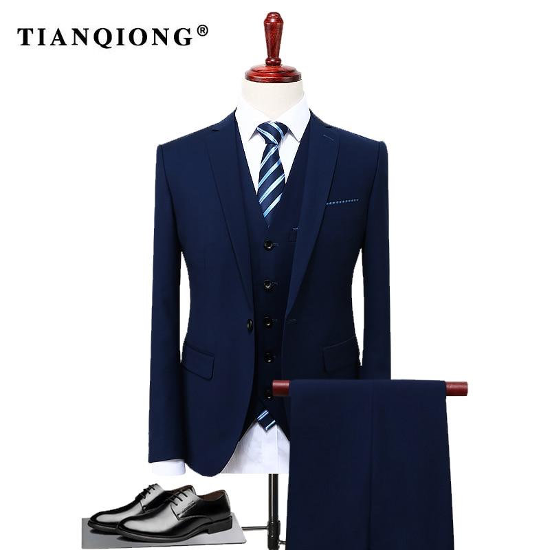 Tian qiong 2017 유명 브랜드 남성 정장 웨딩 신랑 플러스 사이즈 4xl 3 개 (자켓 + 조끼 + 바지) 슬림 피트 캐주얼 턱시도 정장 남성-에서정장부터 남성 의류 의  그룹 3