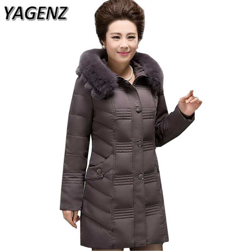 YAGENZ 6XL 2017 Middle-aged Winter Hooded Jacket Thicker Warm Large size Fox fur collar Overcoats Solid Slim Down Female Jacket plus size 6xl middle aged women jacket coats winter down cotton parkas thicker hooded raccoon fur collar warm jackets okxgnz1144
