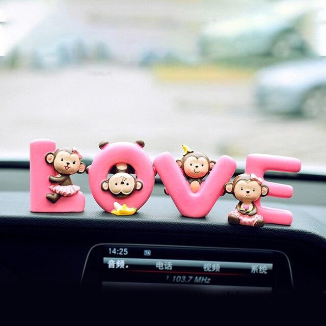 שרף חמוד קוף האהבה יום תליון קרפט משרד בית לוח מחוונים קישוט רכב קישוט מתנת אהבת Cartoon פנים