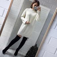 Herbst Winter Feste Gestrickte Baumwolle Pullover Kleider Frauen Mode Lose Oansatz Pullover Weibliche Gestrickte Kleid Vestidos Feminino