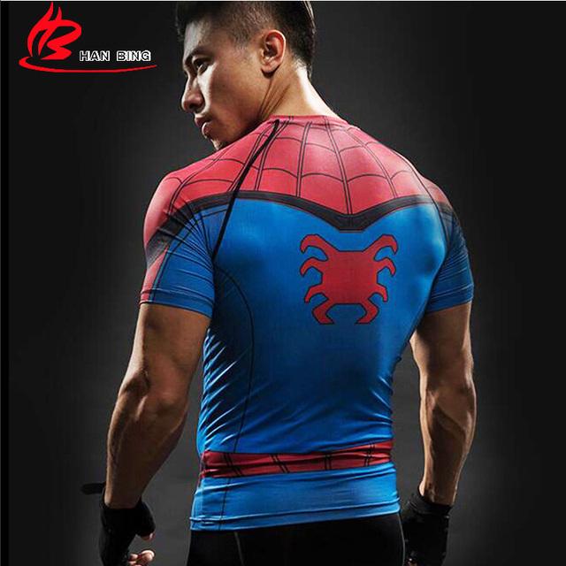 Spider Man 3D Printed T Shirt Captain America Civil War Tee Men Avengers Short Raglan sleeve Fitness Cosplay Slim Fit Tops Male
