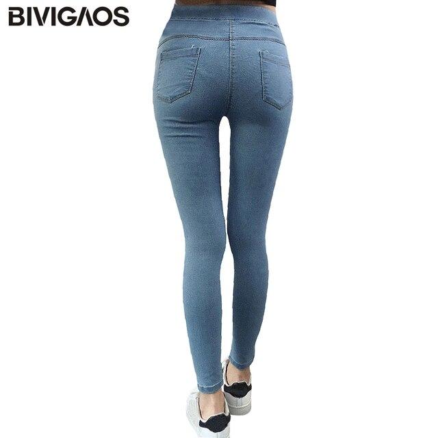 Bivigaos الأساسية نحيل إمرأة جينز سروال رصاص سليم مطاطا الدينيم السراويل الجينز طماق الكاحل الإناث القطن الرجل jeggings جينز المرأة