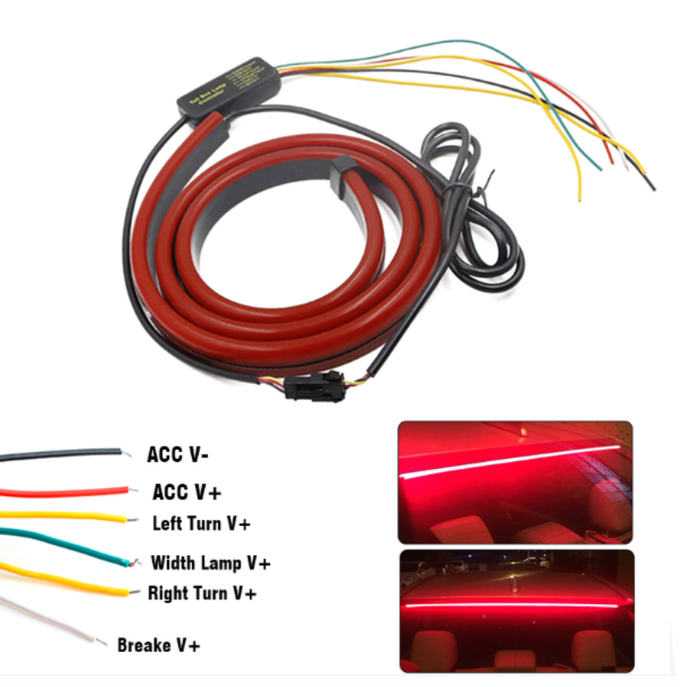 Image 5 - JURUS 100CM Red Flexible LED Car Additional Brake Light Interior Driving Mount Stop 12V Turn Signal Warning Lamp Car Accessories-in Decorative Lamp from Automobiles & Motorcycles
