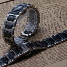 De alta Calidad Venda De Reloj De Cerámica Negro con Hebilla De Plata de metal de acero inoxidable se adapta Diamante Reloj para hombre General16mm 18mm 20mm