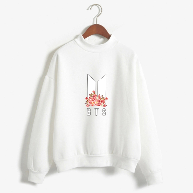 Dandeqi Kpop BTS Hoodies Women Bangtan Boys BTS Album Autumn Fleece Hoodie Winter New BTS Flower Print Moletom Drop Shipping
