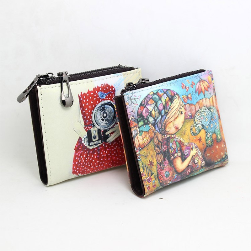 New Brand Designer Creative Painting Wallet for Women Short Zipper Coin Purse Fancy Pu Leather Wallets Small Handy Bag Ladies in Wallets from Luggage Bags
