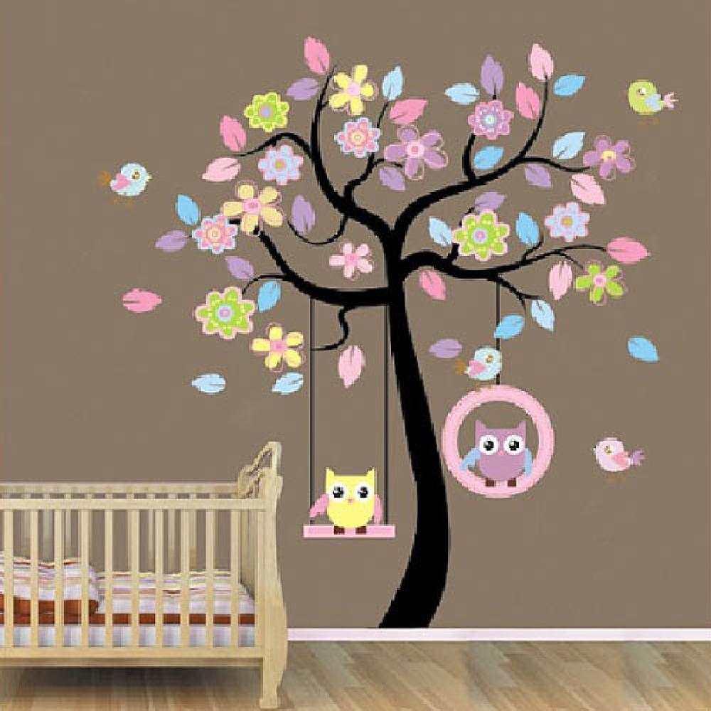 & Swing de hibou Arbre Stickers Muraux pour chambre d'enfants chambre Fleurs animal Autocollants Amovible Diy Vinyle Devis Affiche Décoration de La Maison