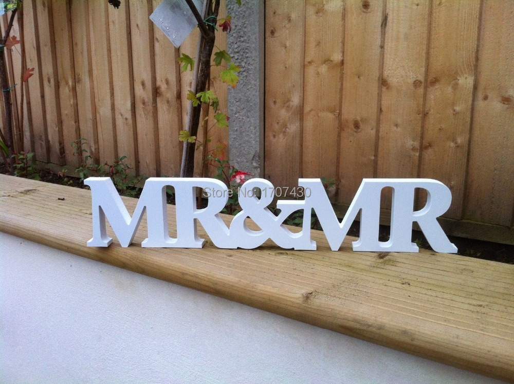 New Wedding Gift Letters White Wood Mr & Mrs Sign Top