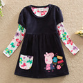2016 New Cartoon Pig dress girls dress New baby girl clothes cute bow kids dresses for girls lace long sleeve children clothing
