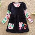 2016 Nuevo Cerdo de la Historieta muchachas del vestido Nuevo vestido de ropa de bebé niña arco lindo niños vestidos para niñas de encaje de manga larga ropa de los niños