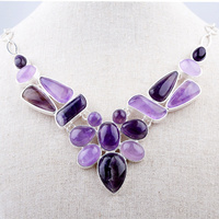 Free Shipping Luxury Amethyst Semi Precious Gemstone Choker Necklaces For Party GN N004