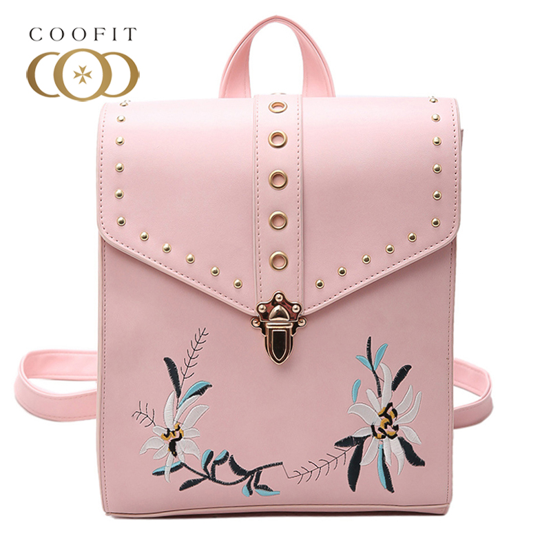 Coofit Fashion Floral Embroidery Backpack For Girls Women Stylish Rivet PU Leather School Bag Backpacks Female Rucksack Satchels велосипед stels navigator 310 lady 18 2017 violet