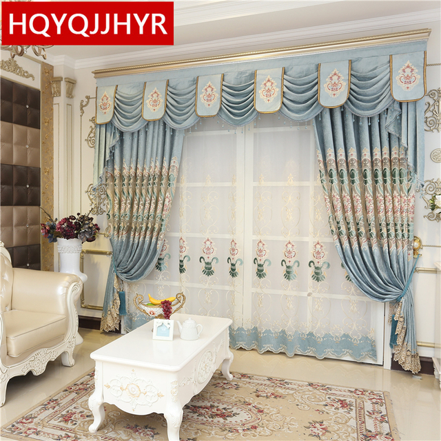 Luxury royal blue embroidered high shade curtains for villa living ...