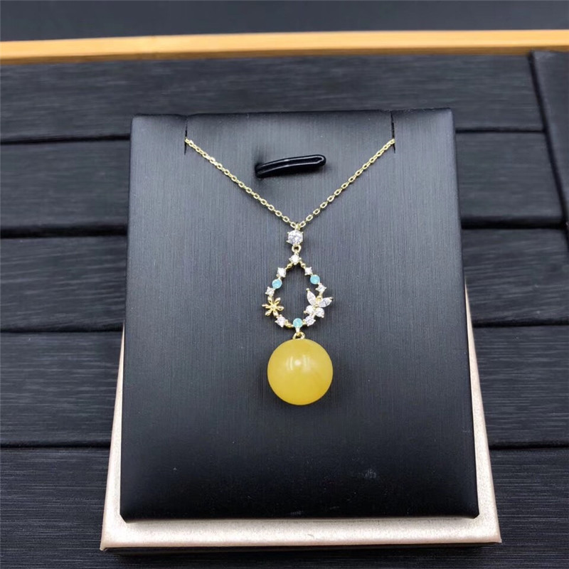 fine jewelry Natural amber Pendant Jewelry 925 siler Necklace Free Shipping