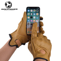 ROCK BIKER Classic Retro Motorcycle Gloves Leather Men Chopper Harley Moto Motorbike Cafe Vintage Full Finger Glove