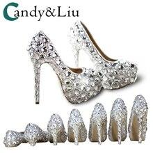 Zapatos de cristal Cenicienta tacones de mujer para fiesta de noche  brillante punta redonda personalizado plata d7c463e6dc84