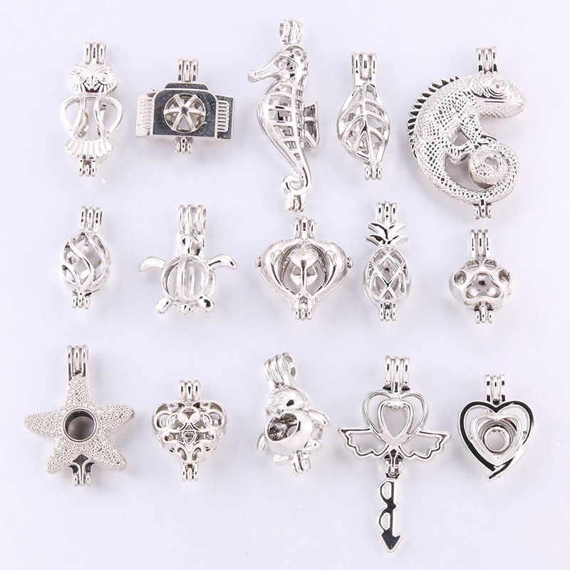 10 karışık gökkuşağı renk gümüş siyah moda takı yapımı inci kafes madalyon kolye uçucu yağ difüzör eğlenceli takı