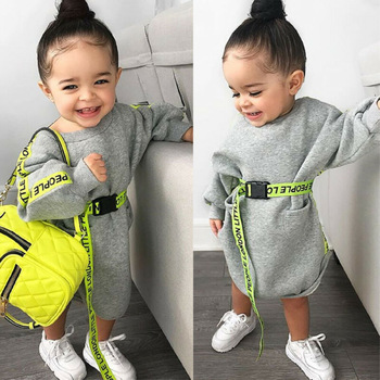 Children Dresses Toddler Kid Baby Girl Clothes Long Sleeve Gray Dress Pullover Dresses Autumn Spring Cute Casual Dress 1