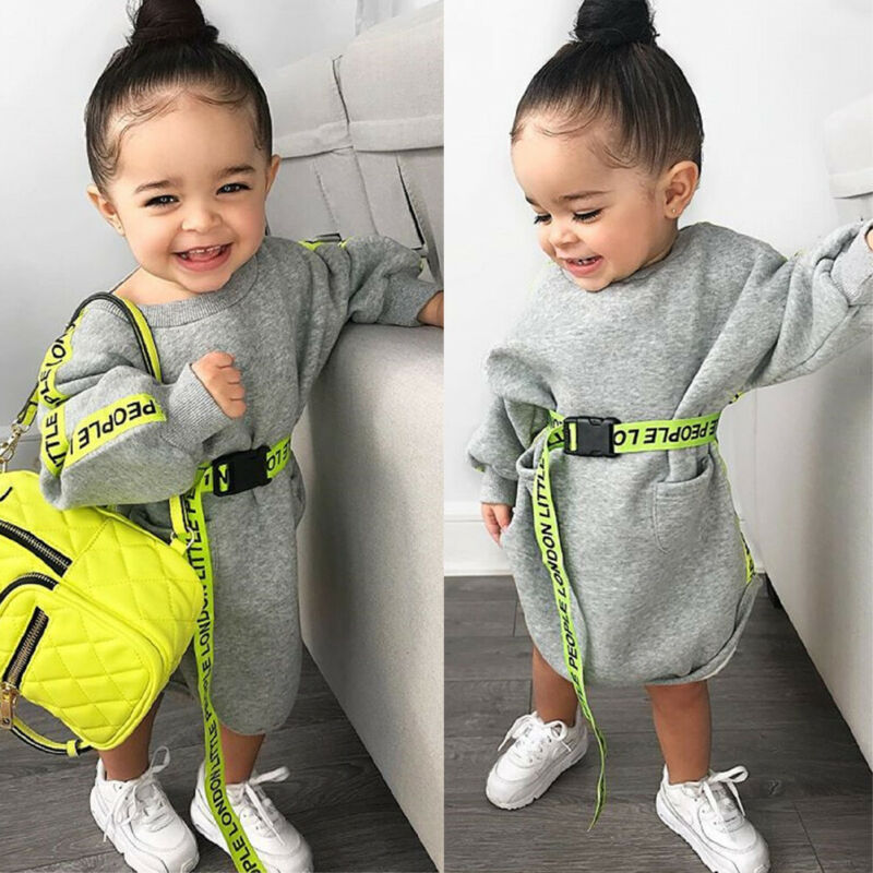 Children Dresses Toddler Kid Baby Girl Clothes Long Sleeve Gray Dress Pullover Dresses Autumn Spring Cute Casual Dress シャツ ワンピ ロング 半袖