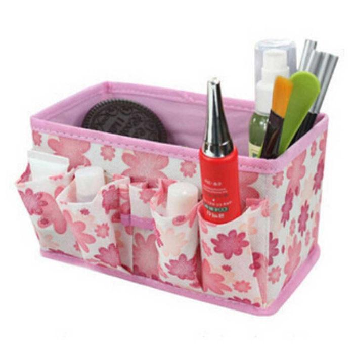 Storage Box Foldable Desk Organizer Small floral Fashion Makeup Cosmetic Storage Box Bag Bright Organiser Foldable Stationary