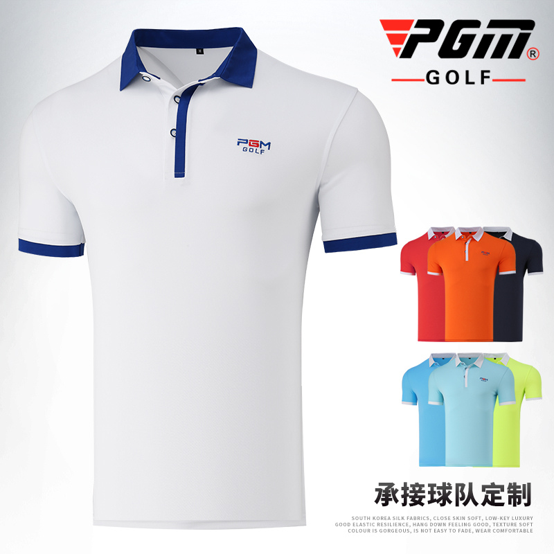 Mens T-shirt Golf Sports Summer Short Sleeve Mens Cloth Polyester Turn-down Collar Sportswear Brand PGM