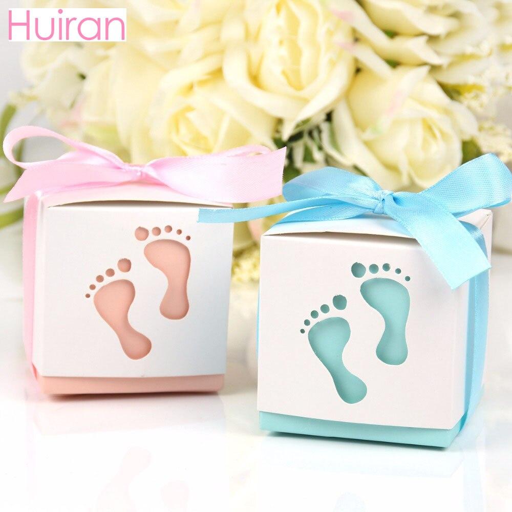 Huiran 10pcs Baby Footprint Paper Candy Box Gender Reveal Party