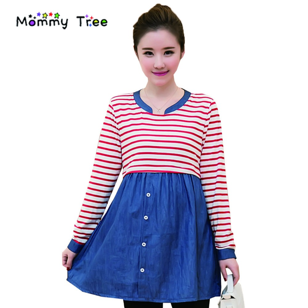 Maternity dress online shopping image collections braidsmaid compare prices on maternity dress for pregnant women online denim cotton stripe maternity dress autumn spring ombrellifo Gallery
