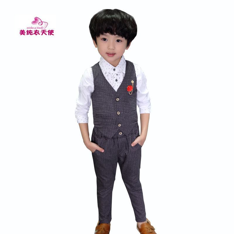 Boys Formal Clothing Sets Spring Autumn Boys Wedding Clothes Vest & Pants 2 Pcs Kids Gentleman Clothes Suit 2 3 4 5 6 7 8 9 Year