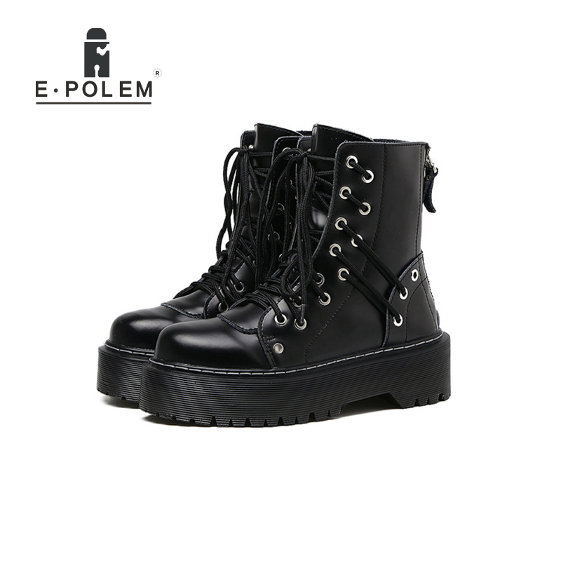 Top qualité en cuir véritable à lacets Punk bottes pour femmes 4 cm plate-forme semelle épaisse Zip talon bottines élégant Rock chaussures pour femmes