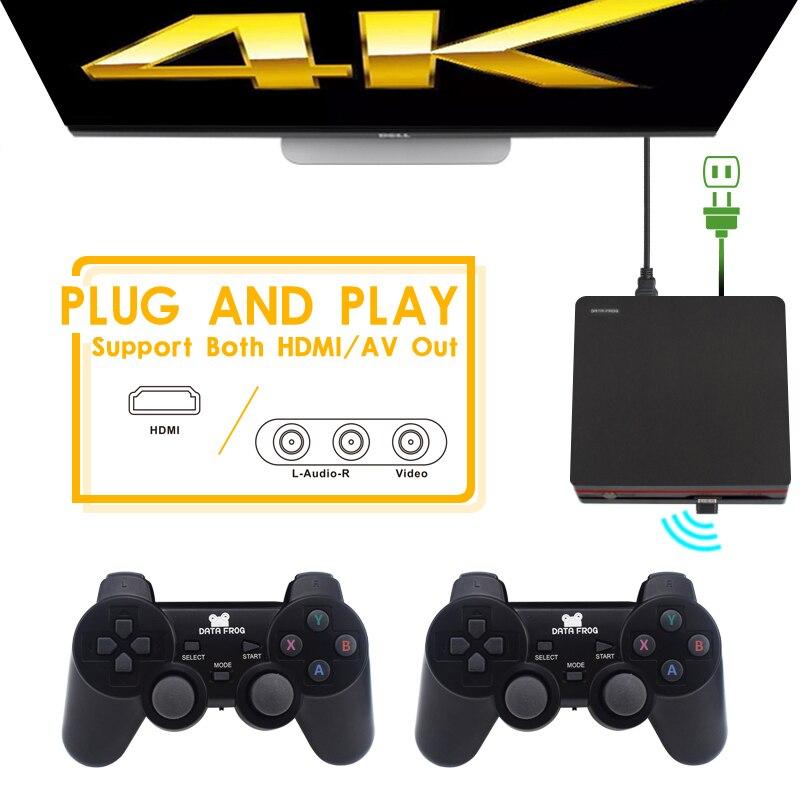 DATA FROG Console de jeu avec 2.4G contrôleur sans fil HDMI Console de jeu vidéo 600 jeux classiques pour GBA famille TV jeu rétro - 2