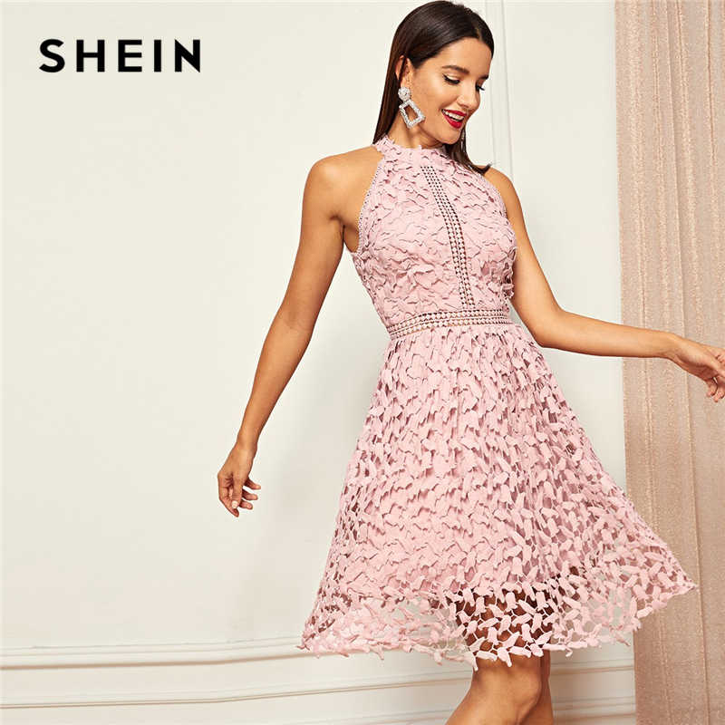198e250c00 SHEIN Going Out Pink Party Halter Neck Lace Skater Sleeveless Halter Short  Dress Summer Modern Lady