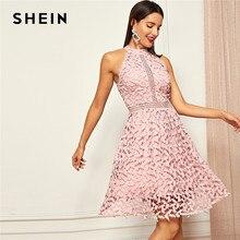 95631f71066 SHEIN sortie rose partie licou cou dentelle patineuse sans manches licou  robe courte d été moderne dame décontracté femmes robes