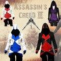 O envio gratuito de Garantia de 3 Novos homens da Moda Jaquetas Assassins Creed Conner Kenway Anime Cosplay Traje Casaco Moletom Com Capuz