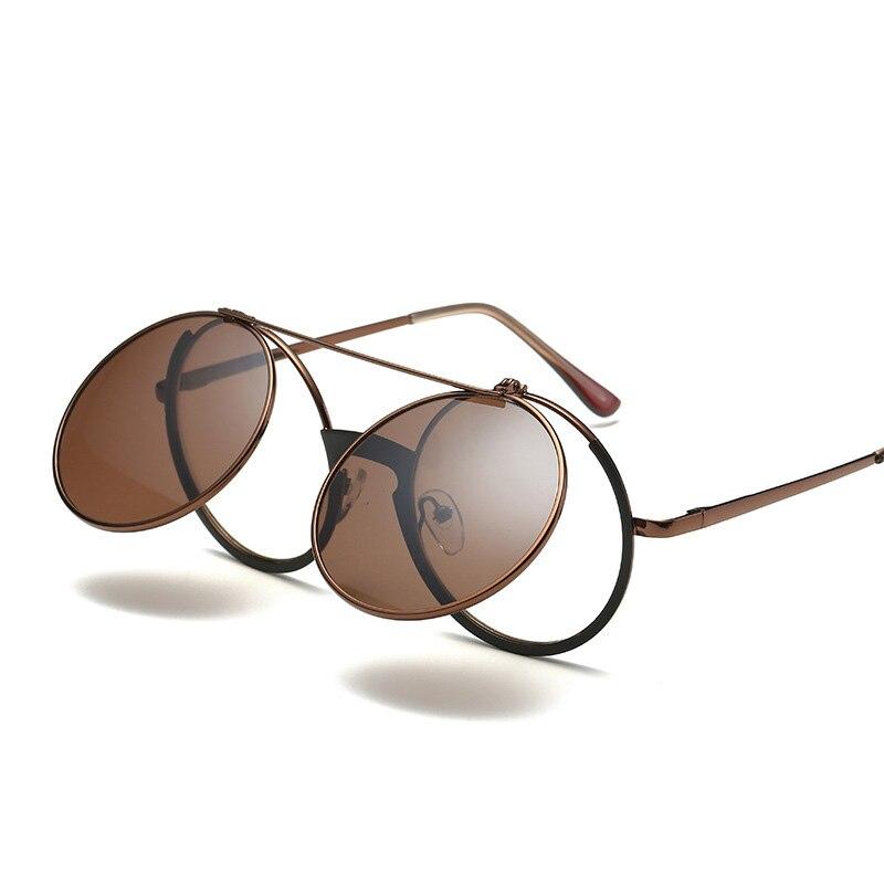 PIZ01-PJZ08 новый складной стимпанк Круглый Солнцезащитные очки для женщин Для мужчин Для женщин Пластик сплав Рамки градиент объектив Мода Очк...
