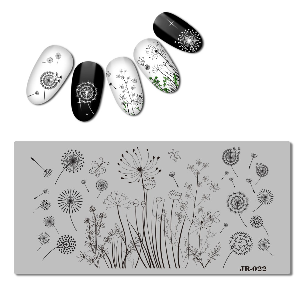 2018 Stainless Steel 6x12 Cm Nail Stamping Plate Template Flower Swirl Vine Dandelion Butterfly Panda Ballet Paw Jr021-030 With A Long Standing Reputation Nails Art & Tools