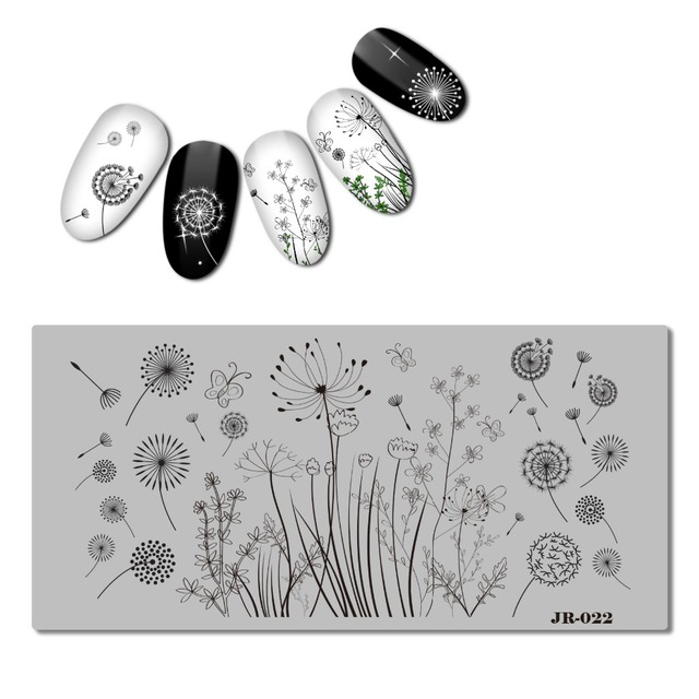 2018 stainless steel 6x12 cm nail stamping plate template flower