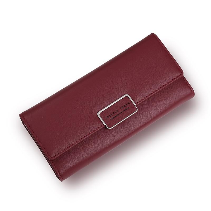Fashion Elegant Women Long Leather Wallet Portable Multifunction Solid Color Purse Hot Female Change Purse Lady Clutch Carteras