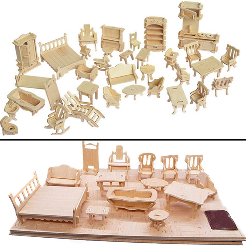 Miniature 1:12 Dollhouse Furniture For Dolls Mini 3D Wooden Puzzle DIY Building Model Toys For Children Gift|Furniture Toys| |  - title=
